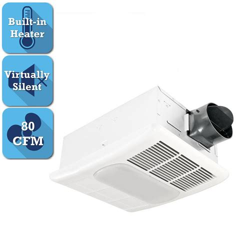exhaust fan with light and heater delta breez radiance series 80 cfm ceiling bathroom