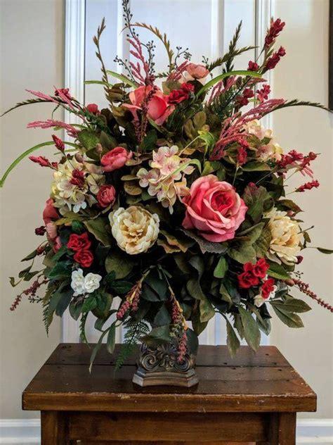 large elegant floral arrangement dining room foyer entry