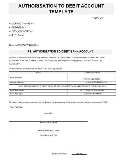 authorization letter debit account ne0166 authorization to debit bank account template