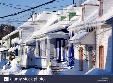 buy house in quebec canada quebec province quebec city saint romuald snow covered stock photo royalty