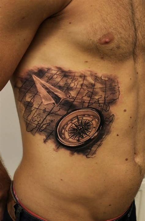 Compass Tattoo Rib Cage | map tattoo ideas and map tattoo designs page 5