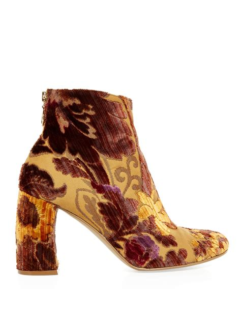 stella mccartney floral flocked ankle boots lyst