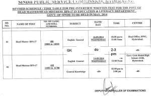 test pattern of fpsc spsc headmaster and headmistress written test schedule and