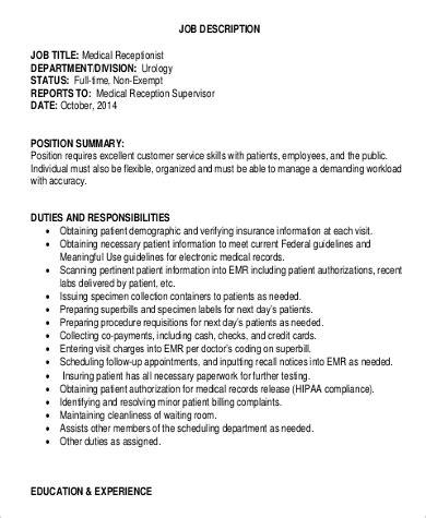 receptionist description sle 9 exles