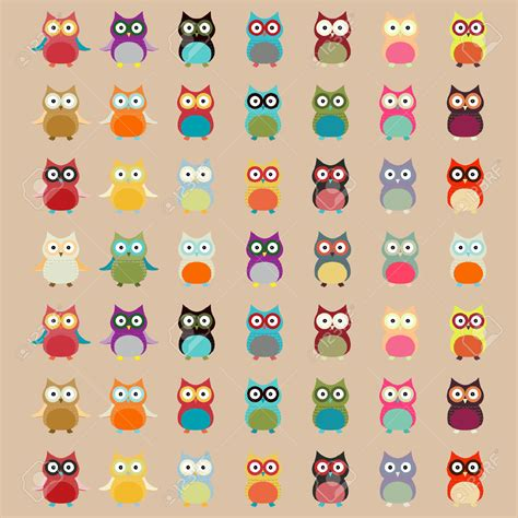 vector owl tutorial cute colorful owl pattern vector background royalty free