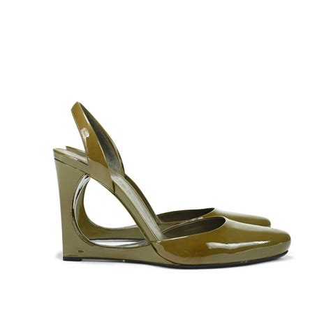 Jil Sander Python Cut Out Wedges by Second Jil Sander Cut Out Patent Slingbacks The