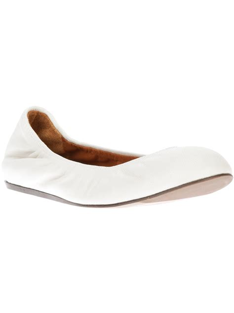 white flat ballet shoes lanvin toe ballet flats in white lyst