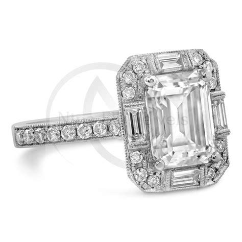 emerald cut moissanite antique style engagement