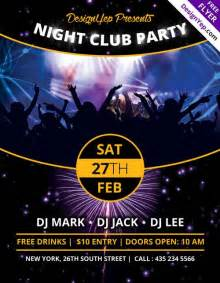 free nightclub flyer design templates nightclub free psd flyer template