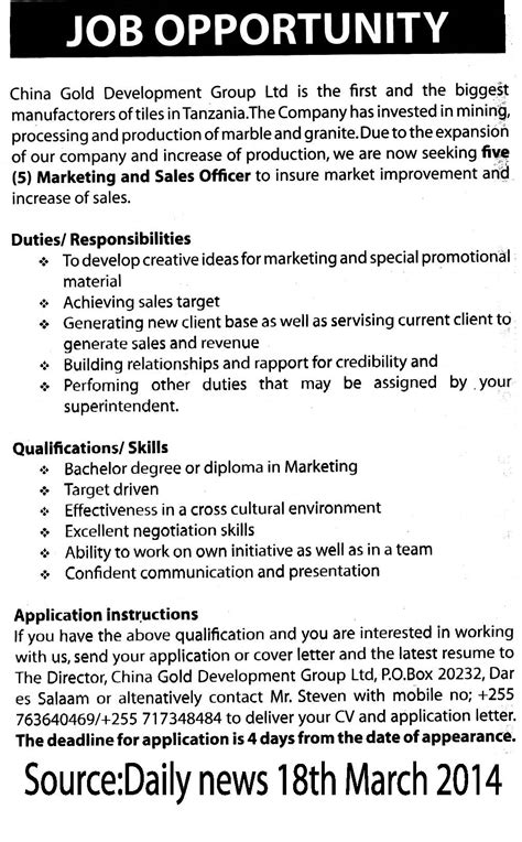 Marketing Officer Description by Marketing And Sales Officer Tayoa Employment Portal