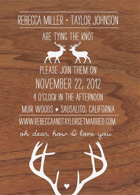 deer wedding invitations oh dear deer woodgrain and antler wedding invitation