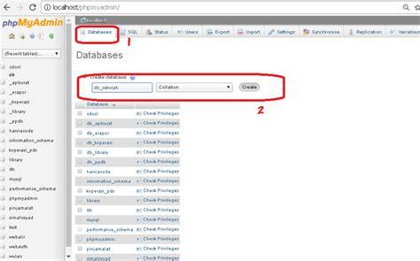 cara membuat database sekolah di xp cara mudah membuat cara mudah membuat database di phpmyadmin iman jayoda