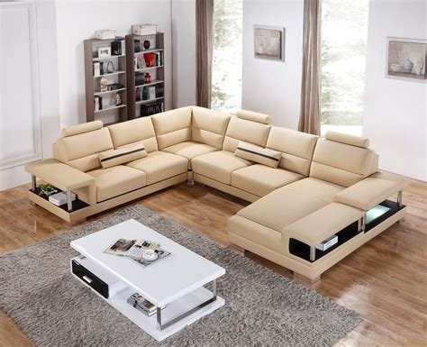 beige leather sectional sofa divani casa t717 modern beige leather sectional sofa