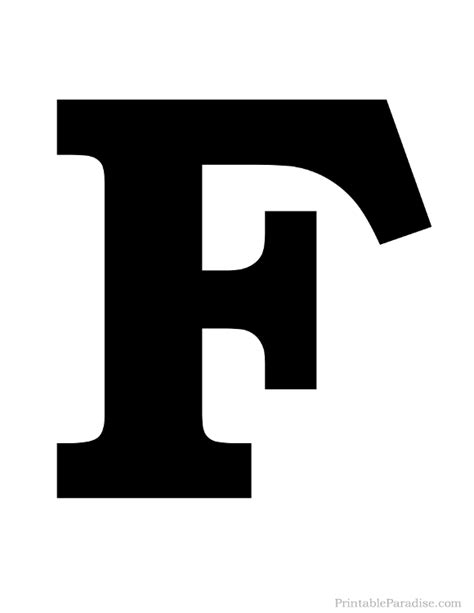 Printable Letter F Silhouette Print Solid Black Letter F