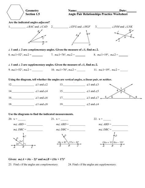 Angle Pair Relationships Worksheet
