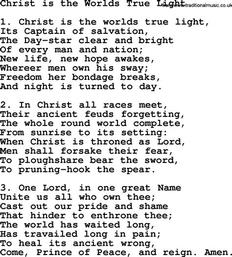 jesus is the light of the world lyrics advent hymns song christ is the worlds true light