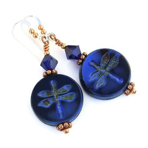Handmade Artisan Jewelry - blue dragonfly handmade earrings indigo swarovski artisan