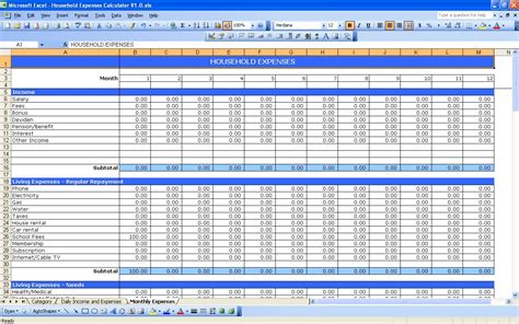 monthly spending spreadsheet excel inspirational example excel