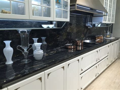Drama And Elegance Reflected In A Black Kitchen Countertop