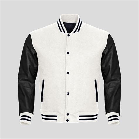 design your own jacket online cheap black leather sleeves white wool varsity jacket