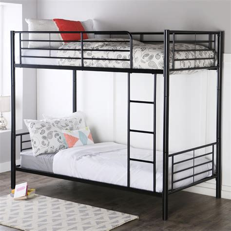 twin metal loft bed amazon com walker edison twin over twin metal bunk bed