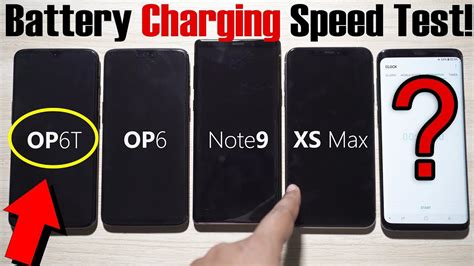 oneplus 6t vs iphone xs max vs note 9 vs oneplus 6 battery charging speed test big