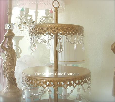 shabby chic cake stand with crystals shabby prisms garlands chic gold 3 tier cupcake