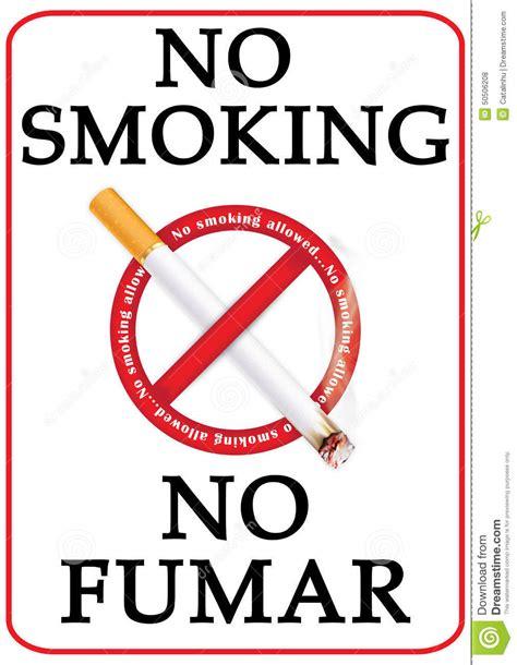 no smoking sign english and spanish anti smoke caign image for print stock illustration