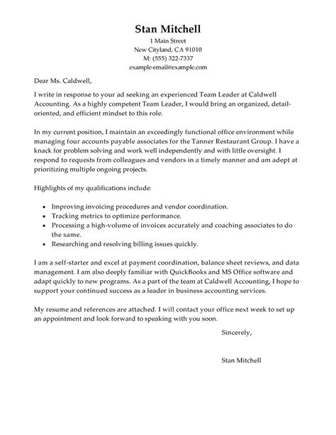 cover letter leadership exle best management team lead cover letter exles livecareer