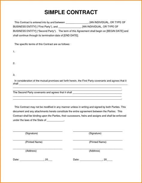 contract of agreement template 4 simple contractor agreement resumed