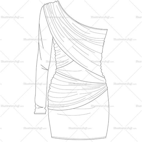 dress template for adobe illustrator women s one shoulder bodycon dress fashion flat template