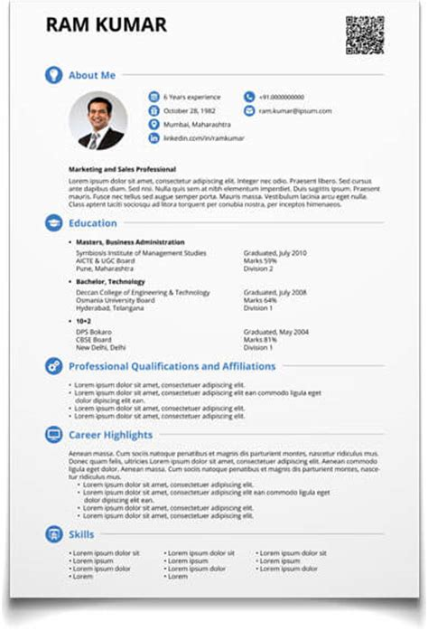 A Resume Format For A Job by Cv Maker Create Resume Now