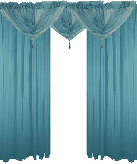 Teal Swag Curtains Teal 5 Voile Set Rod Pocket Curtains Drapes Swags