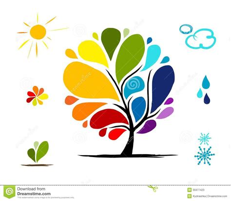 format eps en jpg rainbow tree with weather signs for your design stock