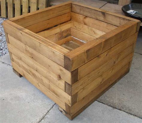 how to build a wooden planter box handcrafted woodwork including bird tables planters and troughs made from recycled wood
