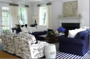 Navy and white stripe coastal rug gives this living room a bright