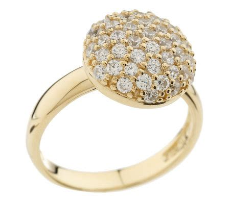 diamonique sterling or 14k gold clad pave ring