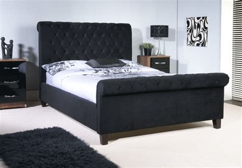 Black Beds by Limelight Orbit 4ft6 Black Velvet Fabric Bed Frame