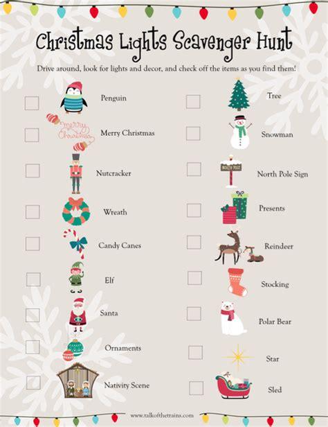 Christmas Light Scavenger Hunt For Kids Printable Talk Light Scavenger Hunt Printable