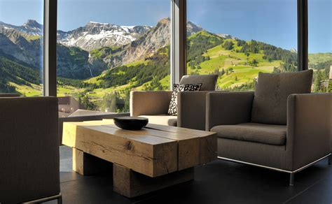 cambrian hotel in swiss alps 171 home deas architecture hotel resort grey sofa and wooden table placed near