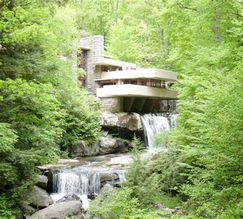fallingwater pictures quot forest quot view showing two waterfalls frank lloyd wright house above