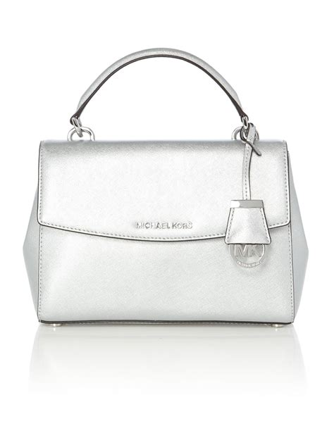Michael Kors Small Satchel Luggage Ori lyst michael kors silver small satchel bag in metallic