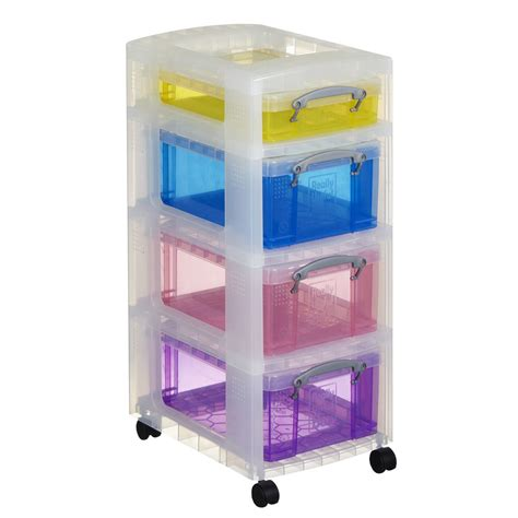 NEW Really Useful Boxes 4 Drawer Trolley Assorted Colours