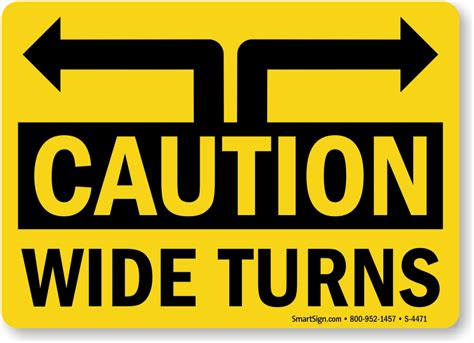 caution lights for trucks wide turn signs labels caution trucks wide turns