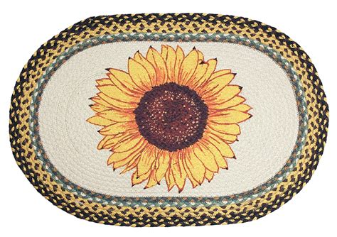 sunflower rugs country sunflower rug braided oval country decor rug