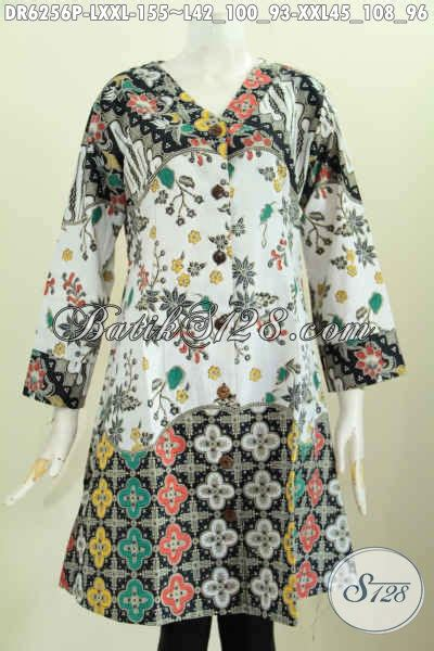Baju Wanita Dress V baju batik jumbo wanita gemuk dress batik kerha v halus