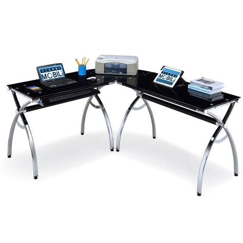 techni mobili l shaped glass computer desk rta products techni mobili corner l shaped black glass
