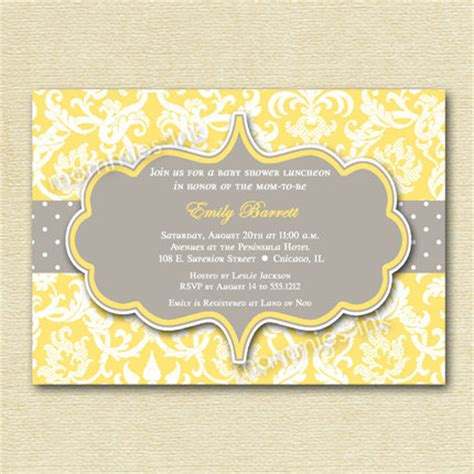grey and white baby shower invitations items similar to yellow and gray damask baby shower