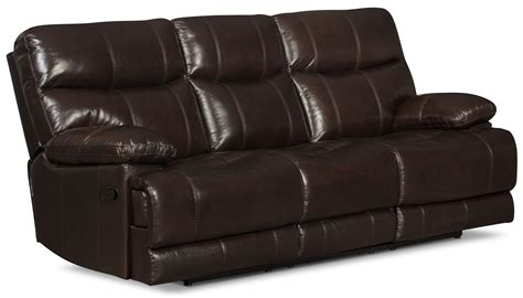 genuine leather reclining sofa gavin genuine leather reclining sofa brown united