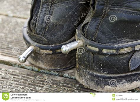 dirty riding boots black riding boots with spurs stock image image 41538881